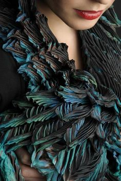 from fibonacci collection - creative shibori fabulous fabric manipulation and colour combination in this couture piece reminds me of magpie wings Textile Fabrics, Textile Art, Carla Diaz, Textile Manipulation, Shibori Techniques, Non Plus Ultra, Fashion Details, Fashion Design, Thing 1
