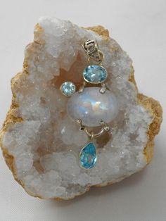 Moonstone Pendant 3 with Blue Topaz