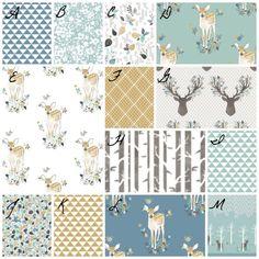 Crib Bedding Deer Antlers Fawn Boy or Girl Floral Woodland Custom Made Fabrics Gender Neutral