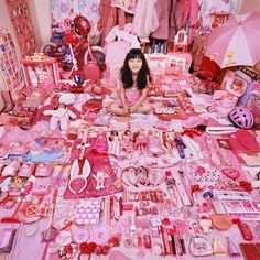 The following pink and blue kids' rooms photos are the outcome of South Korean photographer Jeong Mee Yoon's latest photography project. His inspiration comes from his daughter's obsession with the color pink!