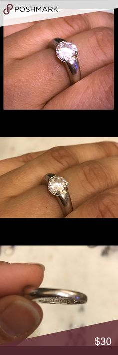 "Beautiful sterling silver and Zirconia ring Great condition.... and sparkle! Stamp reads ""925"" for sterling silver. Jewelry Rings"