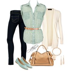 A fashion look from November 2012 featuring green polka dot top, white open front cardigan and mint shoes. Browse and shop related looks.