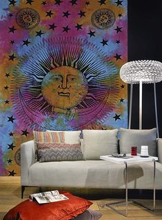 Tie Dye Sun & Moon Tapestry Sun and Moon Tapestry Psychedelic Celestial Indian Sun Hippie Tapestry Wall Hanging Throw Hippie Hippy by HeenasSewLab on Etsy Sun And Moon Tapestry, Mandala Tapestry, Bohemian Wall Decor, Tapestry Wall Hanging, Wall Hangings, Indian Mandala, Door Curtains, Close To Home, Decorative Cushions