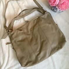Emma Fox Bag Leather Dressage Bag Taupe/ tan/ mushroom leather. Kiss clasp. Used but good condition. Some signs of use on straps (see photos).   No trades Emma Fox Bags Shoulder Bags