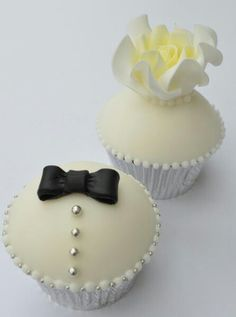 Cupcakes for a black tie affair, black bow tie and white rose/flower