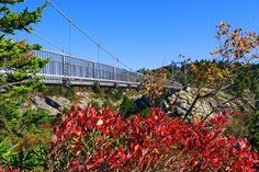 Fall color at the mile high Swinging Bridge on Grandfather Mountain in North Carolina