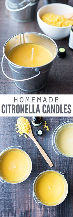 Learn how to make a homemade citronella candle using old candle wax and soup cans! They're so easy to make, and the candle really works to keep bugs and mosquitoes away. :: DontWastetheCrumb… Learn how to make a homemade Old Candles, Candle Wax, Candle Gifts, Outdoor Candles, Beeswax Candles, Scented Candles, Smelly Candles, Diy Candle Melts, Diy Wax Melts