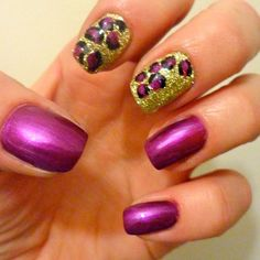 Purple and gold leopard nail art! SWEET!
