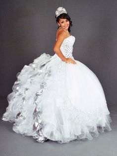 sweetheart neck beaded puffy ball gown organza ruffles white ...