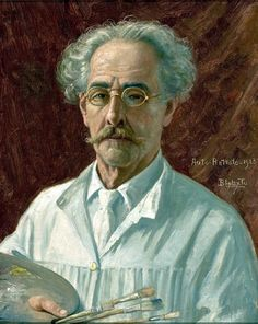 """""""Benedito Calixto de Jesus"""". Auto-Retrato. Pintor, Desenhista, Historiador, Astrônomo amador. (Itanhaém, 14/Outubro/1853 - São Paulo, 31/Maio/1927)."""