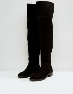 ASOS KORE Suede Over The Knee Boots - Black