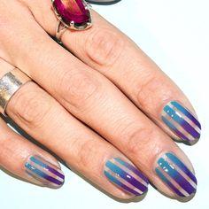 "Gradient stripes using @chanelofficial in ""Lavanda"" and "" Mediterranee"""