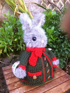 Ravelry: ElizabethLihou's Rabbit tea cosy...smartly dressed for Winter