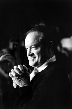 """Unpublished. Bob Hope, photographed in a quiet moment at the 1958 Oscar rehearsals. According to notes taken during Leonard McCombe's photo shoot, Hope cracked up the likes of Clark Gable and Cary Grant with new material: """"Tovarich Hope, newly returned from Moscow, unlimbers his Russian jokes."""""""