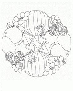 This mandala is of fall produce, and features fruits and veggies that taste best during the fall: pumpkin, brussels sprouts, grapes, and more. Fall Coloring Pages, Mandala Coloring Pages, Adult Coloring Pages, Coloring Pages For Kids, Coloring Books, Kids Coloring, Mandala Pattern, Mosaic Patterns, Mandala Design