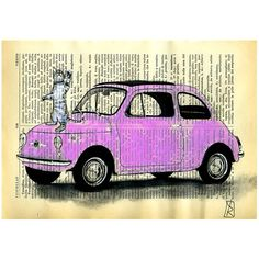 cat car illustration fiat 500 ORIGINAL Painting by VincenzoRizzo, $12.00