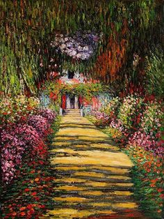 Claude Monet- Garden Path at Giverny iii – Garden Paths Claude Monet, Monet Paintings, Landscape Paintings, Abstract Paintings, Artist Monet, Impressionist Paintings, Famous Art, Garden Paths, Garden Art