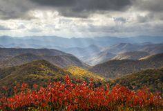 Sun beams shining through a cloudy day in the Smoky Mountains