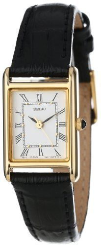 Seiko Women's SXGN42 Gold-Tone and Black Leather Strap Watch Seiko http://www.amazon.com/dp/B001BME0C0/ref=cm_sw_r_pi_dp_Up2lub12XMYYQ - womens cool watches, online shopping for womens watches, black watches womens