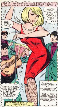 """February 1966 Marvels :""""You all remember how Millie became a discotheque dancer with the sensational Gears..."""""""