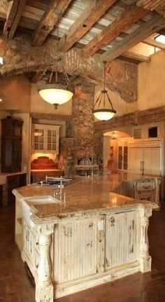 Boomerang shaped island, Tuscan style home, Scottsdale, Arizona. I love Tuscan style decorating Home Design, Küchen Design, Design Ideas, Funny Design, Rustic Kitchen Design, Country Kitchen, Country Life, Big Kitchen, Cozy Kitchen