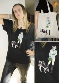 ALICE BRANDS diseños únicos raza del perro en Tops de las mujeres de calidad fabulosos, camisetas y ahora en las bolsas de asas también. Ecuestre Alice con perros que se muestran. etsy.com/uk/shop/AliceBrands ... Vea nuestra gama completa en www.alicebrands.co.uk