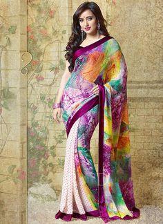 Neha Sharma Multi Color Georgette Saree