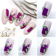 Pin by Nicole Pietz on Nails in 2020 Art Deco Nails, 3d Nail Art, 3d Nails, Nail Arts, Uñas One Stroke, One Stroke Nails, 3d Nail Designs, Purple Nail Designs, Spring Nail Art