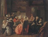 A merry company drinking and smoking in an interior by Josef van Aken