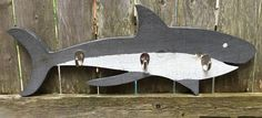 - This rustic hand painted shark hanger will look great in your coastal or beach…