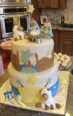 Nativity Scene cake - I'm almost tempted to learn the art of cake decorating just to have one of these cakes!