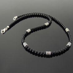 Mens Women Bright Black Onyx Sterling Silver Necklace 4mm Beads DIY-KAREN 087 #Handmade #Beaded