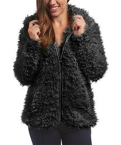 Another great find on #zulily! Black Faux Fur Hooded Zip-Up Jacket - Women & Plus #zulilyfinds
