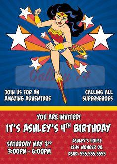Wonder Woman Themed Birthday Invitation by freshlycutcards on Etsy ...