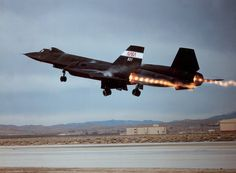SR-71 Blackbird taking off complete with shock diamonds.
