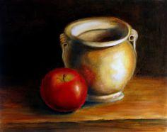 Best Still Life oil paintings Apple and Vase by Alexandra Kopp