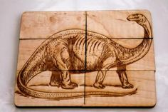 Back in Time Maple Flip Tile Puzzle - 2 pictures on curly maple - dinosaur and train by SimaDesign for $14.50
