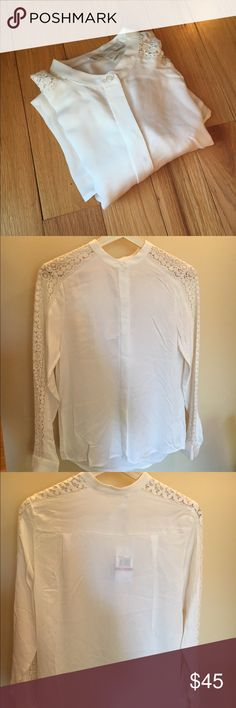 🎀NEW🎀MICHAEL KORS Silk And Lace Blouse 🎀NEW🎀MK 200% Silk Blouse. Beautiful Lace detailing down the sleeves🚫no trade🚫no hold Michael Kors Tops Blouses