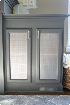metal sheeting on cabinet doors for electronics