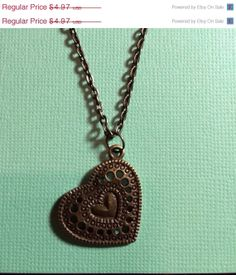 ON SALE Brass Heart Necklace 18 Inches by RoseyJohnny on Etsy, $4.72