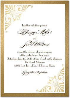 A classic wedding invitation in a timeless design. Edged in a metallic design and featuring elegant details, this template can be customized to fit any wedding.