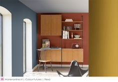 Kleurentrends 2017 - Kleurentrend The Working Home - Flexa heeft een kleurenpalet ontwikkeld waarmee je verschillende zones in huis afbakent, maar waarmee je ook een ruimte kunt creëren die beide functies in elkaar laat overvloeien. Of je nu het liefst in de keuken zit met laptop en koffie onder handbereik of juist een aparte studeerkamer nodig hebt, het moet er wel comfortabel zijn. #kleuren #color #kleurentrends #interieur