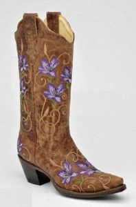 women's purple western boots | Corral Women's Cowboy Western Boots Brown Purple Embroidered Flowers ...