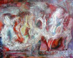Un serpent qui danse Peinture à l'huile sur toile