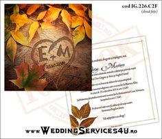 Invitatie de Nunta Model IG226   2 variante de invitatii http://invitatii-marturii.weddingservices4u.ro/invitatii-nunta-model-ig226/  Tematica de Toamna