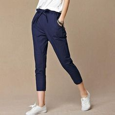 Casual capris Cotton Linen crop Pants