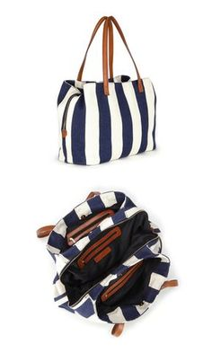 Oversized woven tote bag in navy   white stripe with shoulder straps,  zipper closure and 131066572c