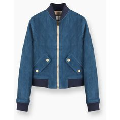 Bomber jacket ❤ liked on Polyvore featuring outerwear, jackets, blue jackets, blue bomber jacket, flight jacket, blouson jacket and bomber jacket