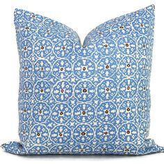 China Seas Nitik Ii French blue/brown Quadrille Pillow Cover Square Eurosham or Lumbar Pillow Acce featuring polyvore, home, home decor, throw pillows, black, decorative pillows, home & living, home décor, brown euro pillow shams, flower stems, euro square pillow shams, abstract throw pillows and brown toss pillows