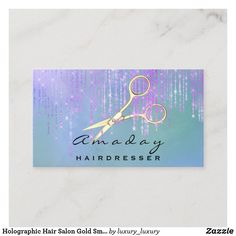 Holographic Hair Salon Gold Smoky Scissors Drips Business Card